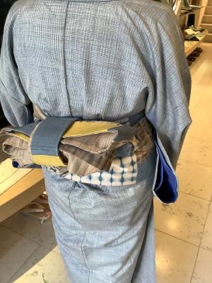 小格子紬きもの半幅帯 (2)