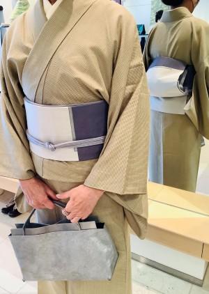 塩沢紬キモノ箔布裂取刺繍京袋帯帆布バッグ (2)