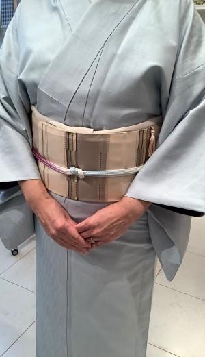 岩崎訓久・悦子杉綾織キモノ緯吉野織袋帯(2)