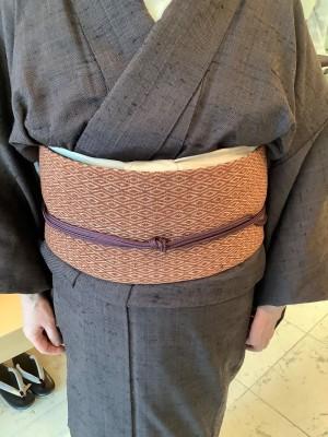 御柱織キモノインド木綿織布名古屋帯 (2)