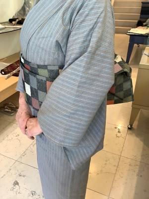 徳永伊都子さん藍と茶綿浮織入木綿キモノ西陣半巾帯 (2)