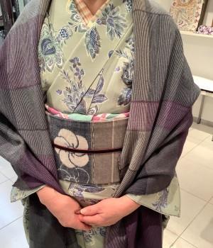 更紗小紋キモノ 伯州木綿名古屋帯 手描き帯揚 (2)