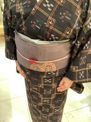 琉球絣キモノ筒描染名古屋帯揚ショール (2)