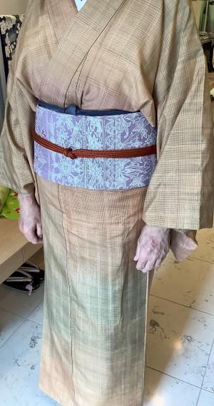 長井紬キモノバティック染更紗名古屋帯 (2)