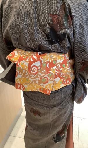 6,大島紬キモノカメレオン柄半巾帯 (2)