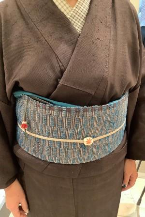 7,ざざんざ織キモノ岩崎さん吉野織八寸帯と織半衿、川北トンボ (2)